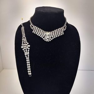 Vintage Clear Rhinestone Necklace and Bracelet Set